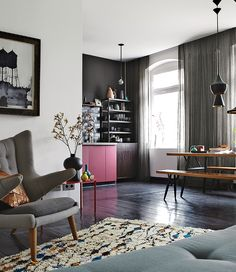 A German designer outfits his Berlin pied-à-terre with carefully curated colors, whimsical vignettes, and clever, space-saving furnishings.
