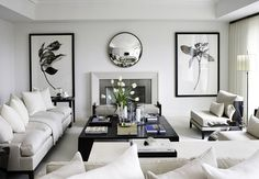 Black and white is #timeless and #sophisticated look, keeping the balance of the room a masculine and feminine feel