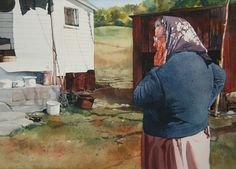 "Catherine P. O'Neill - watercolor - ""Aunt Marion"" - portrait - people - landscape - light & dark - composition fascinating"