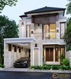 Frenky Private House Design - Jakarta Timur- Quality house design of architectural services, experienced professional Bali Villa Tropical designs from Emporio Architect. Bungalow House Design, House Front Design, Small Villa, Beautiful Modern Homes, Asian House, Bali House, Modern Villa Design, Dream House Exterior, Luxury Homes Exterior