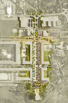 © Cyrille Jacques Chambéry, Requalification of Public Spaces on Avenue . Architecture Site Plan, Masterplan Architecture, Architecture Drawings, Landscape Architecture, Landscape Concept, Landscape Plans, Urban Landscape, Landscape Design, Site Plan Rendering