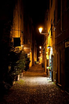 Night Streets of Alghero, Sardinia, Italy