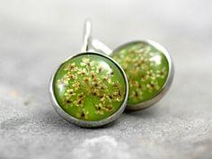 Real flower earrings light green silver