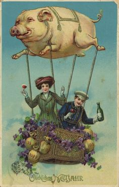 antique lucky pig balloon happy new year postcard german postcard