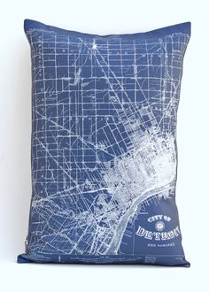 Vintage map print pillows. This one of Detroit and its suburbs.