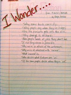 Writers Notebook #stuff about teaching