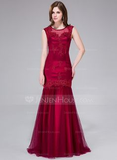 Trumpet/Mermaid Scoop Neck Sweep Train Beading Appliques Lace Sequins Zipper Up at Side Regular Straps Sleeveless No Burgundy Winter Spring Fall General Plus Tulle Evening Dress Burgundy Maxi Dress, Maroon Dress, Cheap Formal Dresses, Cheap Evening Dresses, Formal Gowns, Wedding Party Dresses, Bridal Dresses, Bridesmaid Dresses, Bridesmaids