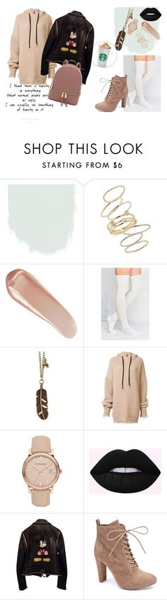 """""""Casual outfit"""" by oladda ❤ liked on Polyvore featuring BP., NARS Cosmetics, Out From Under, Unravel, Burberry, Philipp Plein, Wild Diva, leatherjacket and Bootie"""