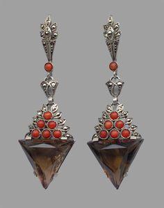 Earrings   Theodor Fahrner attrib.   Silver, Smokey Quartz, Coral, Marcasite.   German, c.1927 (Art Deco)