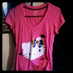 New hello kitty tee. Pink v neck hello kitty with hearts and rainbow bow.Slim fit Hello Kitty Tops