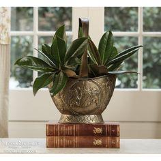 Antique Accessories | Antique Urns/Jardinieres | Embossed Brass Basket Jardiniere | www.inessa.com