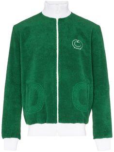 3f39140055e CASABLANCA CASABLANCA TERRY ZIP-UP FLEECY BOMBER JACKET - GREEN.  casablanca   cloth