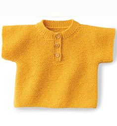Modèle pull manches courtes bébé. Pattern 3-24 months. In French