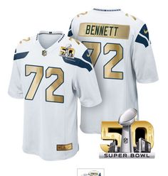 Pre Order Seattle Seahawks Jersey 72 Michael Bennett White Super Bowl 50 Limited Jerseys