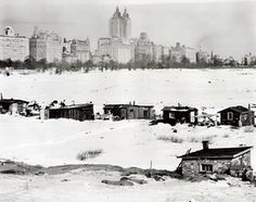"""A """"Hooverville"""" in Central Park in the early years of the Great Depression. Public and official sentiment was on the side of the Hooverville residents. A New York Times article from September 22, 1932 states: """"The raid was staged on the orders of Deputy Parks Commissioner John Hart, who explained that the Park Department, much as it regretted it, intended to raze the settlement this morning. - http://ephemeralnewyork.wordpress.com/2008/10/08/the-hoovervilles-of-new-york-city/"""