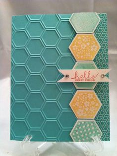 sizzix honeycomb | ... column of large stamped and punched hexagons separates honeycomb ...