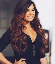 Demi Lovato. Her hair is gorgeous. Love the slight ombre and long curls.