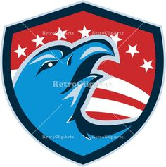 Bald Eagle Head American Stars and Stripes Shield Retro Vector Stock Illustration. Illustration of a bald eagle head looking up viewed from the side set inside shield crest with stars and stripes in the background done in retro style. #illustration #BaldEagle