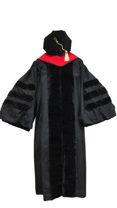 Doctoral Gown, Velvet Tam, Metallic Tassel and Hood   Includes Doctoral Gown, 8-sided Velvet Tam, Doctoral Metallic Tassel and Hood Gowns are available in black with the option of Black, PhD Blue, or Red Velvet Stripes High quality fabric is approximately 250 grams per square meter. Tams are 8 sided in velvet. Available in 2 differernt sizes in Black, PhD blue, or Light BLue Tassel is not come attached to the tam We have a large inventory of hoods.