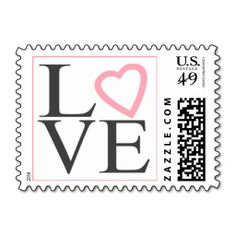 Love Stamps Dark Gray And light Pink Wedding