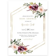 Autumn Florals Baby Shower Invitation | Forever Your Prints
