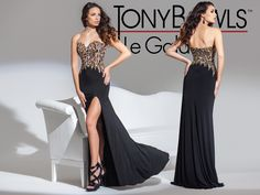 Jersey Knit gown with side slit Black and Leopard combination print Tony Bowls LeGala Style 115547