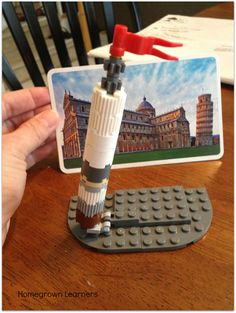 Making LEGO Landmarks - Homegrown Learners: Leaning Tower of Pisa Lego Engineering, Italian Lessons, Lego Challenge, Lego Club, Lego Dc, Stem Science, Learning Italian, Home Learning, School Projects