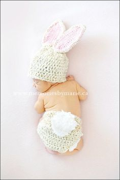 Bunny Hat, Bunny Set, Diaper Cover, Baby Girl, Baby Boy, Photo Prop, Photography prop, MADE TO ORDER. $32.50, via Etsy.    Here's your bunny tail!!