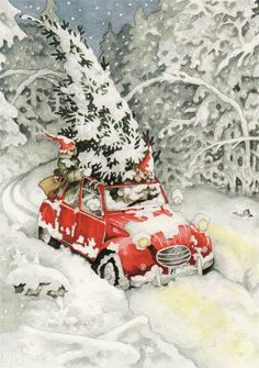 Inge Look, Getting a Christmas Tree. Inge Look loves Christmas and have made A lot of Christmas cards too. Christmas Scenes, Noel Christmas, Vintage Christmas Cards, Retro Christmas, Vintage Holiday, Christmas Pictures, Winter Christmas, Vintage Cards, Christmas Postcards