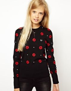Fred Perry Rose Embroidered Jumper