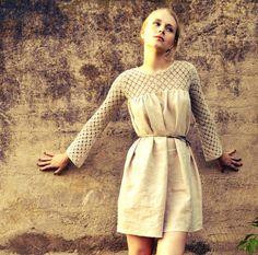 Hand crocheted linen dress/ Natural color linen dress/ Babydoll dress/ Halter dress/ rusteam bioteam tt team. via Etsy.