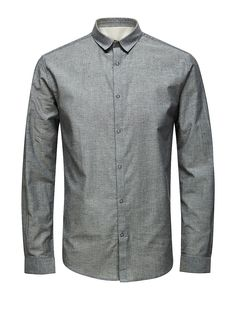 PREMIUM by JACK & JONES - Langärmeliges Hemd von PREMIUM - Slim fit - Standardkragen - Schnappknöpfe - Poplin-Qualität 100% Baumwolle...