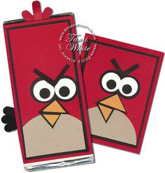 Angry Birds chocolate candy bar and matching card set using Stampin' Up paper and punches (video)