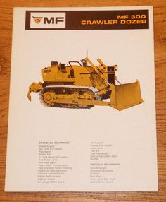Massey Ferguson MF300 Crawler Dozer Specifications Brochure Original Vintage #MasseyFerguson