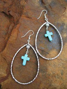 Turquoise Cross Teardrop Earrings by fleurdesignz on Etsy, $14.00