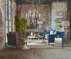 Dark Interiors Brick Highlife Chandelier Leather Chair | Gabby
