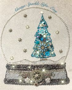 Vintage Jewelry Art Teal and silver frosty themed Christmas tree snow globe button art. Available with other designs in my Etsy shop Always Sparkle Gifts - Jewelry Christmas Tree, Christmas Tree Themes, Jewelry Tree, Old Jewelry, Christmas Crafts, Christmas Mosaics, Jewelry Frames, Jewelry Ideas, Jewellery