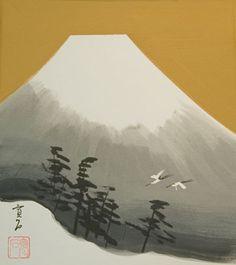 Mount Fuji with White Cranes