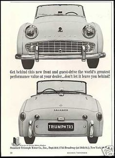 Triumph Research Magazine Advertisements. The Best Resource on the Net of Vintage Ads! Triumph Motor, Triumph Tr3, Triumph Sports, Vintage Sports Cars, British Sports Cars, Car Advertising, Small Cars, Old Cars, Sport Cars
