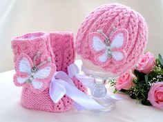 Items similar to Baby Girl Baby Beanie Baby Shoes Baby Booties Crochet Baby Hat Newborn Knitting Baby Set Baby Bonnet Baby Girl Pink Infant Baby Uggs Child on Etsy Crochet Baby Sandals, Booties Crochet, Baby Booties, Baby Shoes, Crochet Hats, Baby Bibs Patterns, Baby Knitting Patterns, Crochet Baby Bonnet, Baby Uggs