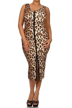 Sexy Leopard Bodycon Button Down Plus Size Midi Tank Dress
