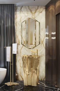 Golden items always bring out the best in luxurious decor. The Eden Freestanding is a piece of exclusive design that brings splendour to space in conjunction with SAPPHIRE Mirror. Luxury Lighting, Luxury Decor, Cool Lighting, Modern Lighting, Bathroom Trends, Modern Bathroom, Interior Decorating, Interior Design, Vogue Living