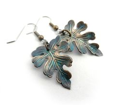 Verdigris Leaf Earrings Green Leaf Earrings by ThreeSistersFoundry