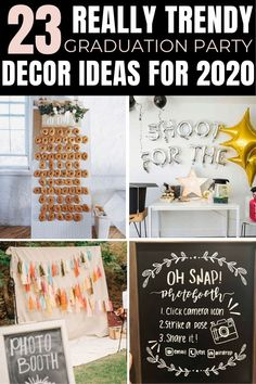 aww I LOVE these graduation party decor ideas So many great ideas for my high school graduation party and even my sisters college grad party ideas! School Centerpieces, Grad Party Decorations, Graduation Party Centerpieces, Graduation Party Themes, Graduation Ideas, Vintage Graduation Party, Outdoor Graduation Parties, Grad Parties, Diy 2019