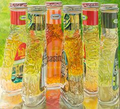 Janet Fish paints light on glass unlike anyone else.   Kraft Salad Dressing 1973