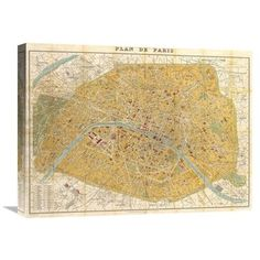 Global Gallery 'Gilded Map of Paris' by Joannoo Graphic Art on Wrapped Canvas Size: