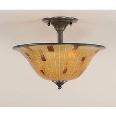 �16-in W Black Copper Textured Semi-Flush Mount Ceiling Light
