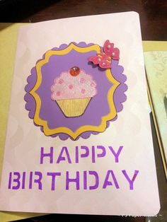# handmade greeting card with punched butter fly & free hand cup cake