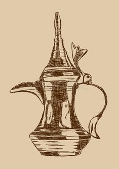 Old Style Hand Drawn Arabic Coffee Pot - Vector Illustration vector illustration Star Illustration, Coffee Illustration, Coffee Icon, Coffee Art, Cute Sketches, Art Drawings Sketches, Arabic Coffee, Islamic Patterns, Coffee Drawing