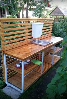 📌 39 outdoor space decor ideas, how to choose furniture for your outdoor space 28 Pallet Furniture, Garden Furniture, Outdoor Furniture, Outdoor Decor, Outdoor Sinks, Outdoor Kitchen Design, Outdoor Kitchens, Outdoor Spaces, Outdoor Living